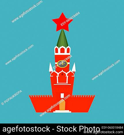 Moscow Kremlin cartoon style isolated. Spasskaya Tower on Red Square ni Russia. National Landmark in Red Square