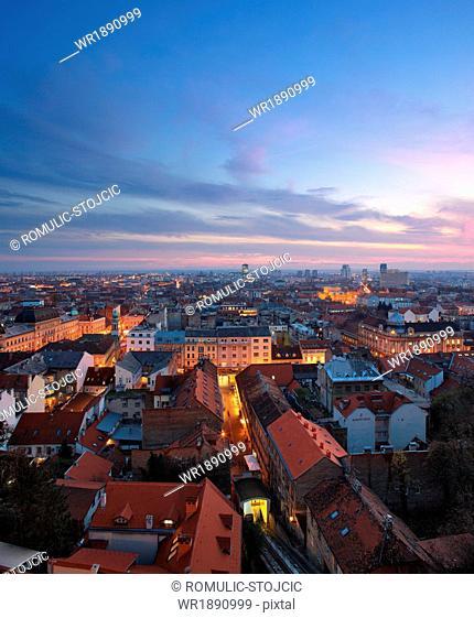 Zagreb city at sunset, Croatia