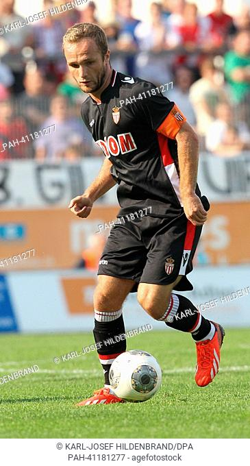 Monaco's player Valere Germain in action during the soccer test match between FC Augsburg and AS Monaco in Memmingen, Germany, 20 July 2013