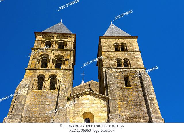 Paray le Monial. Basilica of The Sacred Heart. A pilgrimage site on the river Bourbince. Saône et Loire. France