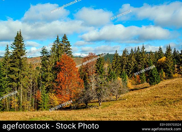 Late autumn mountain morning scene with snow covered tops in far and foggy clouds in valleys. Picturesque traveling, seasonal