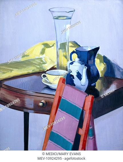 Lily Vase' – with blue and white teapot, blue jug, yellow cup & saucer, yellow shawl and red chair