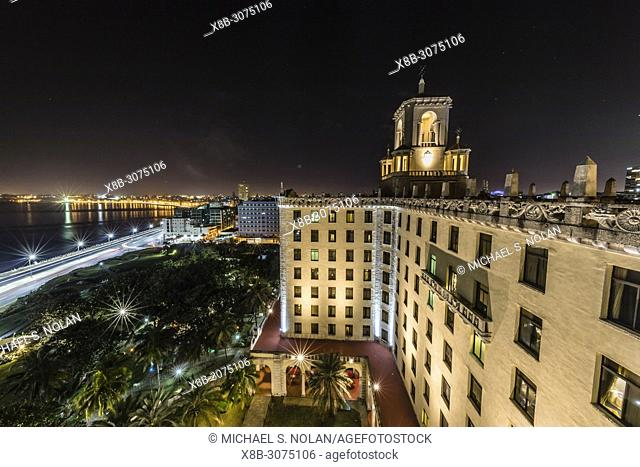 The historic Hotel Nacional de Cuba at night, located on the Malecón in the middle of Vedado, Cuba