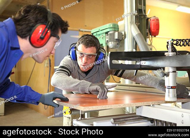 craftsman and his apprentice working together