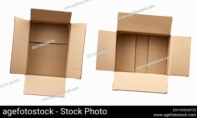 open empty brown rectangular cardboard box for transporting goods isolated on white background. Packaging design
