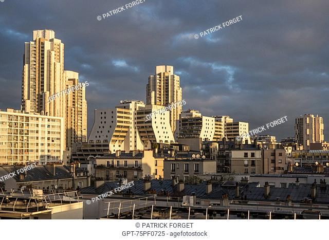 THE ORGUES DE FLANDRE (ORGANS OF FLANDERS) OR FLANDERS TOWERS BY THE ARCHITECT MARTIN VAN TREECK, THE HIGHEST GROUP OF APARTMENT BUILDINGS IN PARIS