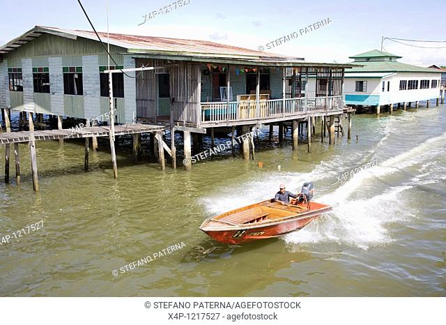 Kampong Ayer Water Village, one on stilts over the water built village with its own schools and smaller mosques for about half of the inhabitants of Bandar Seri...