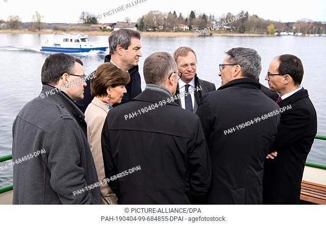 04 April 2019, Bavaria, Herrenchiemsee: Florian Herrmann (l-r, CSU), Head of the State Chancellery, Brigitta Pallauf, President of the State Parliament of...