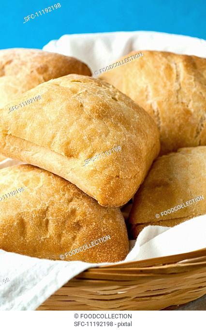 Ciabatta rolls in a bread basket