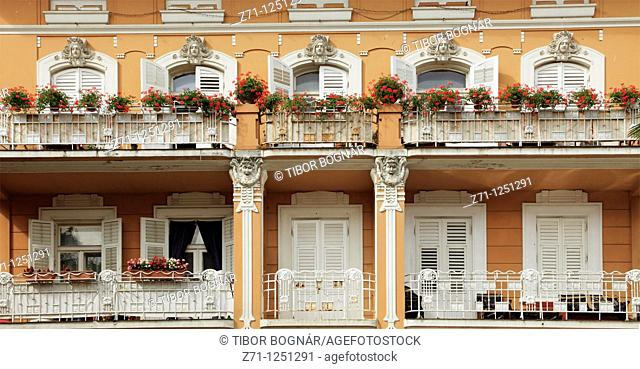 Croatia, Opatija, historic architecture detail, windows