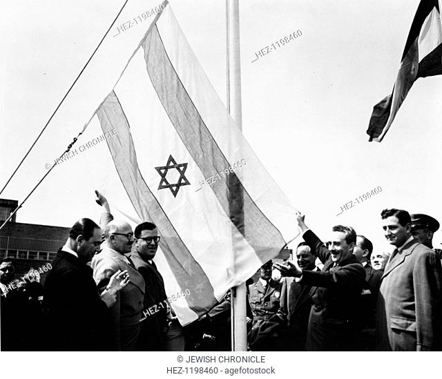 Abba Eban (1915-2002), at the raising of the Israeli flag at UN, New Youk, 1949