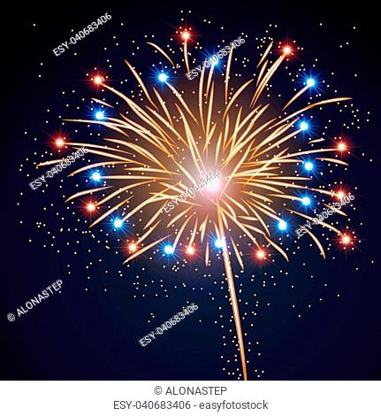 Firework bursting sparkle background. Colorful night fire, beautiful explosion for celebration, holiday, Christmas, New Year, birthday