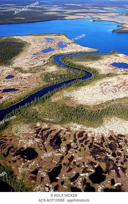 Aerial view of the Marshlands and bogs in the landscape of Southern Labrador, Newfoundland & Labrador, Canada
