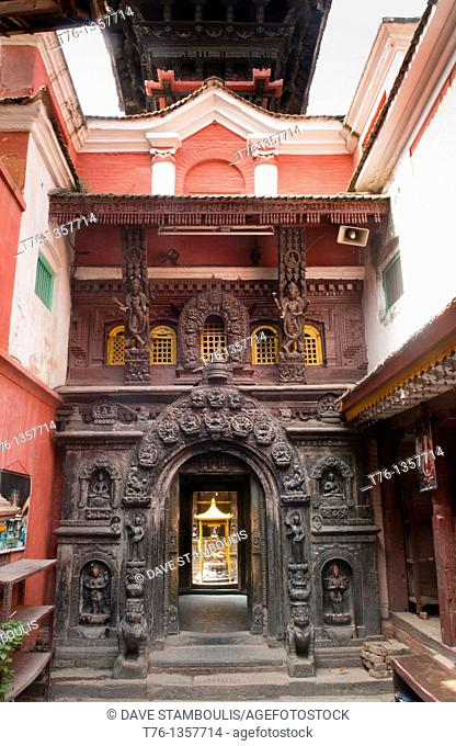 the entrance to the Golden Temple in ancient Patan, near Kathmandu, Nepal