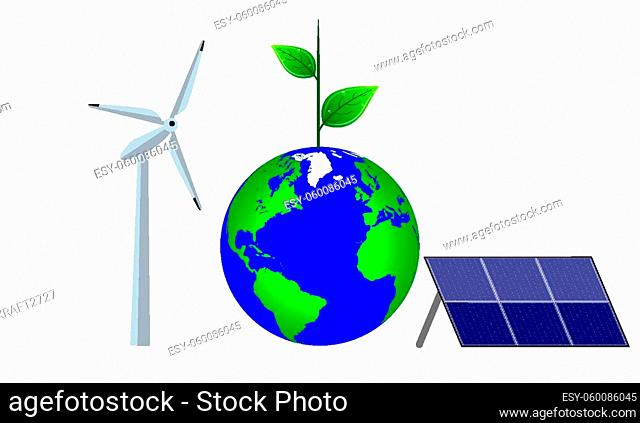 Planet earth with green energy concept equipment, vector art illustration