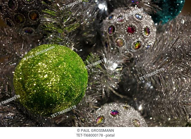 Detail of Christmas tree with decorations