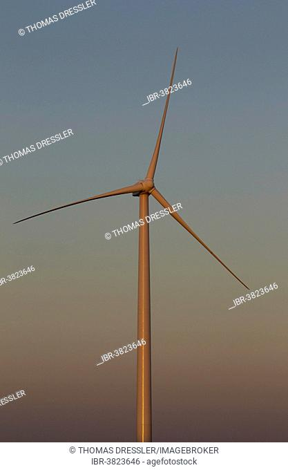 Windmill in the evening light on a wind farm near Sanlúcar de Barrameda, Cádiz province, Andalucía, Spain