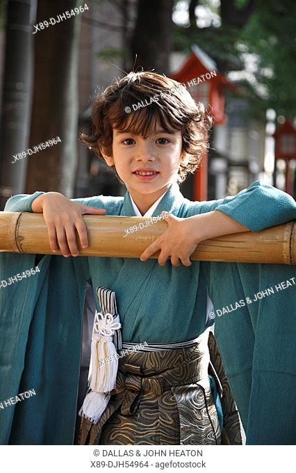 Japan, Tokyo, Young Boy wearing Kimono