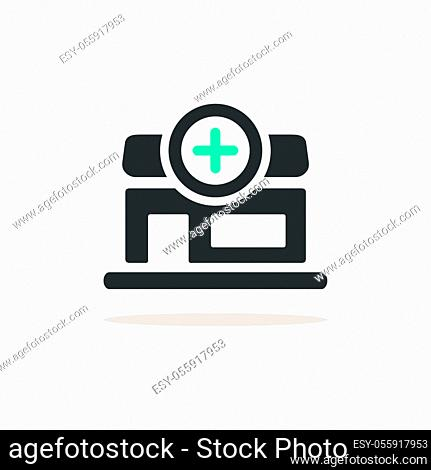 Pharmacy shop. Icon with shadow on a beige background. Medicine flat vector illustration