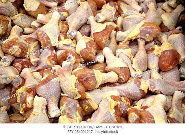 Fresh chicken thigh legs at a meat market in Phnom Penh, Cambodia