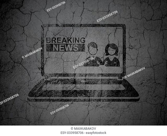 News concept: Black Breaking News On Laptop on grunge textured concrete wall background