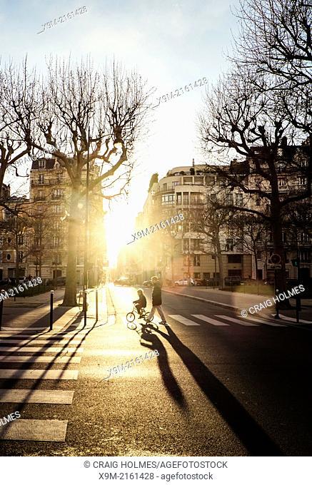 Parisian street scene at sunset