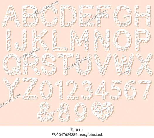 Letters for laser cutting. English alphabet. Vector illustration