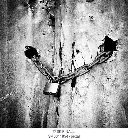 Chain lock on an old garage door
