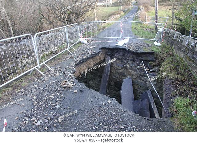 Flood damage caused subsidence damage to a bridge in deiniolen north wales great britain uk