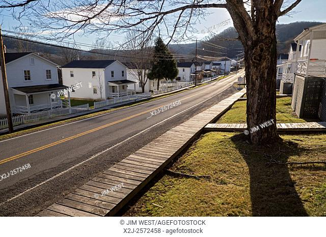 Cass, West Virginia - Houses in a company town founded in 1900 by the West Virginia Pulp and Paper Company. The town is now part of Cass Scenic Railroad State...