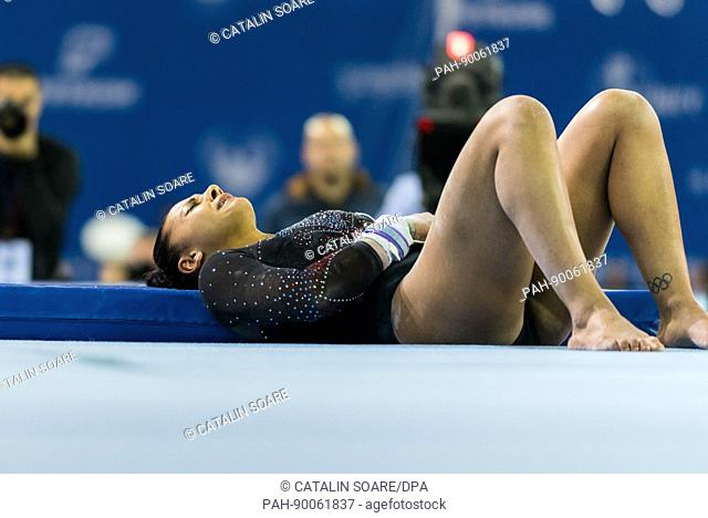 Rebeca Downie (GBR) injured during his performance on the uneven bars at the Women's Apparatus Finals at the European Men's and Women's Artistic Gymnastics...
