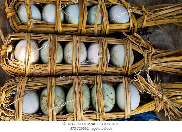Eggs on sale in a local market in Yunnan, China