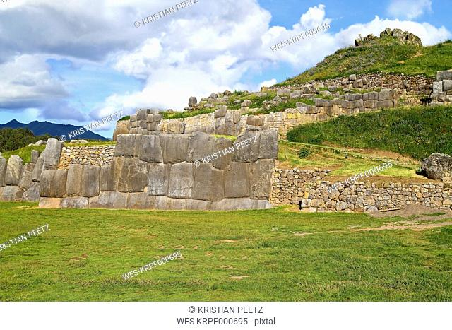 South Amercia, View of the ruins of Saksaywaman in Cusco