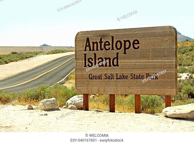 Great Salt Lake - Antelope Island State Park Entrance Sign. Utah, USA