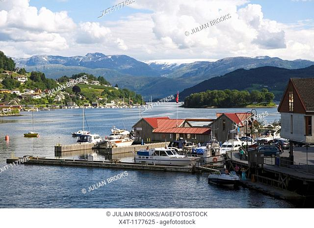 The guest harbour in the town of Norheimsund, Western Norway, on the Hardanger Fjord