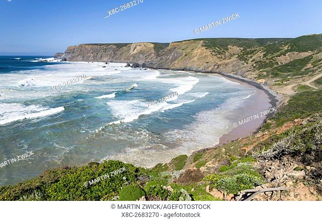 Praia da Ponta Ruiva at the Costa Vicentina. The coast of the Algarve during spring. Europe, Southern Europe, Portugal, March