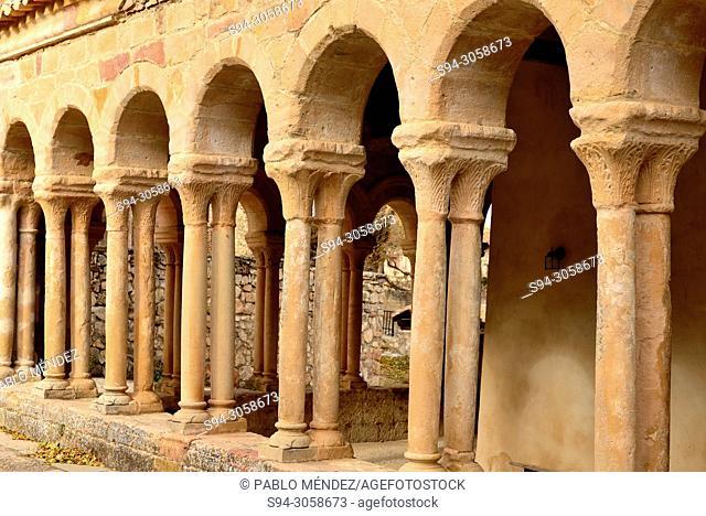 Portic of Romanesque church of El Salvador or Transfiguraction of God, Carabias, Guadalajara, Spain