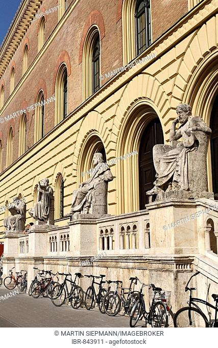 Group of Greek figures in front of the Bavarian State Library in Ludwigstrasse Street, Munich, Upper Bavaria, Germany, Europe