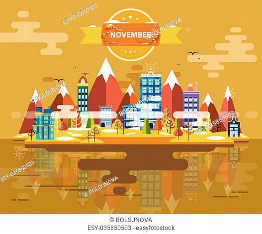Autumn landscape. Small town Set 1 Month of November Infographics Calendar Mountain, nature, park, building, Flat design Image Illustration Vector