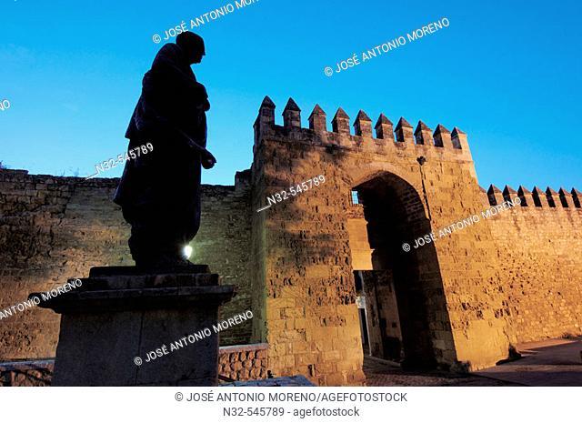 Séneca statue and Almodóvar gate, Nith view, Córdoba. Andalusia, Spain