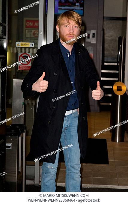 Domhnall Gleeson pictured arriving at the Radio 2 studio to promote the new film Revenant Featuring: Domhnall Gleeson Where: London