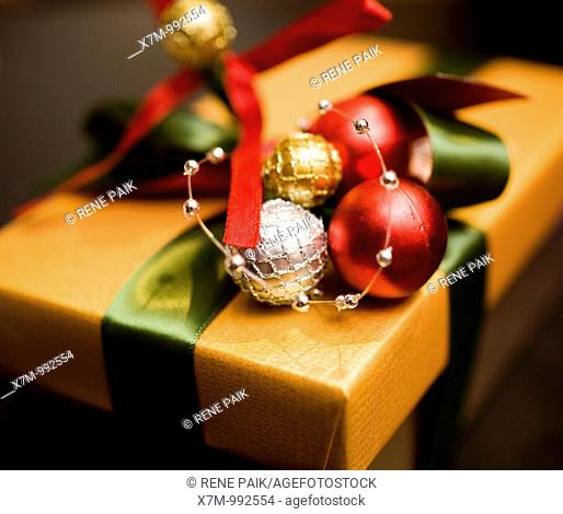Colorfuly and elegantly wrapped Christmas gift