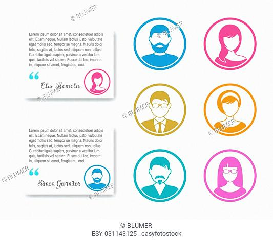 Simple business people icons colorful circle avatar collection
