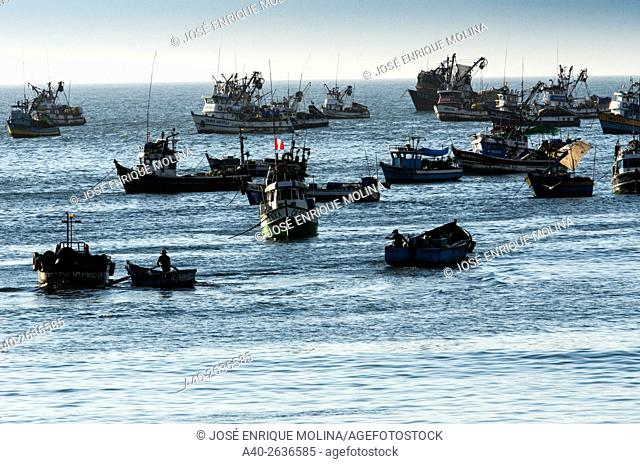 Huacho port in Lima region, Peru. Fishing vessel