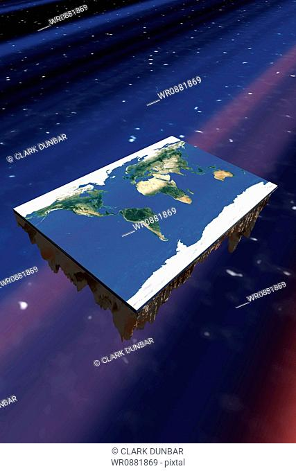 High angle view of a flat rectangle earth floating through the space