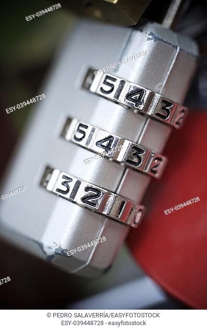 View of a padlock combination numbers