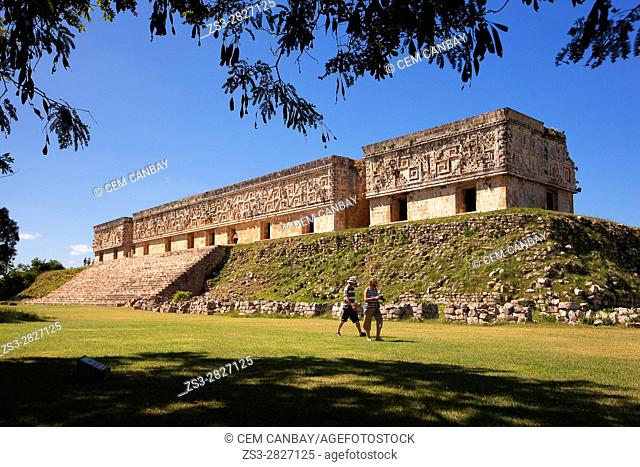 Tourists in front of the Governor's Palace-Palacio del Gobernador in Uxmal Ruins, Yucatan Province, Mexico, Central America