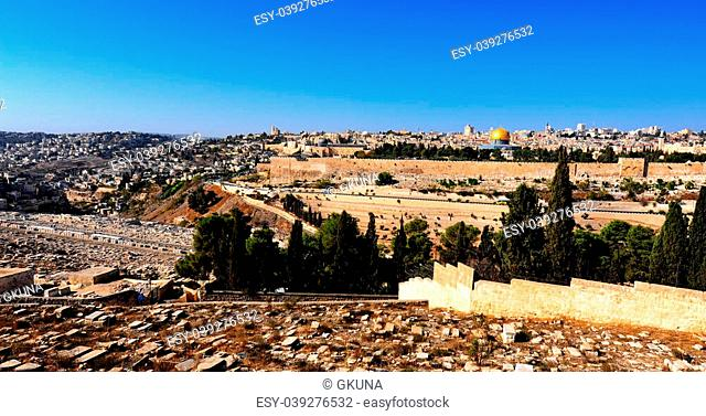 View from Ancient Jewish Cemetery to Walls of the Old City of Jerusalem