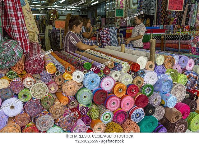 Bangkok, Thailand. Rolls of Fabric, Pahurat, the Indian District