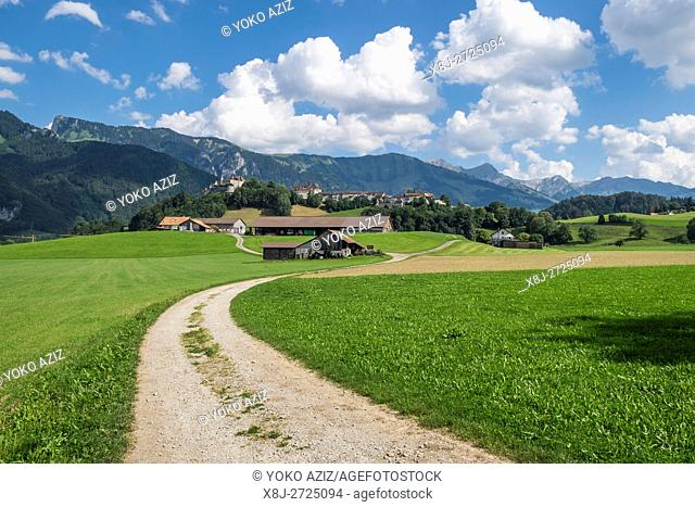 Switzerland, canton Fribourg, Gruyeres, landscape